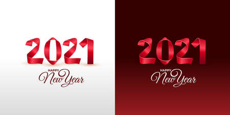 New Year 2021 greeting card. Handmade red painted strips bent into numbers shapes. Perfect for presentations, flyers and banners, leaflets. Vector illustration. Isolated on white and red background.