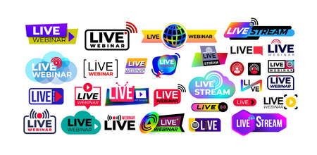 Mega set of live webinar colored button, icon, emblem label. Live streaming icons. Broadcasting video news, tv stream screen banners. Online channel, live event stickers. Vector illustration.