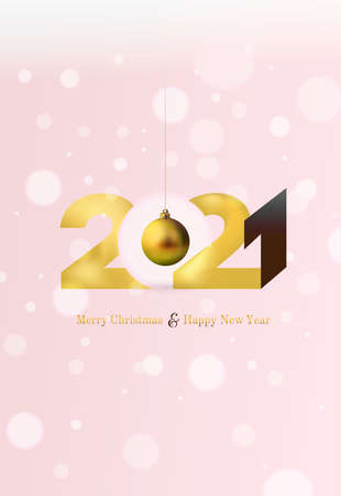 Gold 2020 Happy New Year and Merry Christmas greeting card. Festive xmas decoration golds Christmas balls hanging on the ribbon. Vector illustration. Isolated on white background.