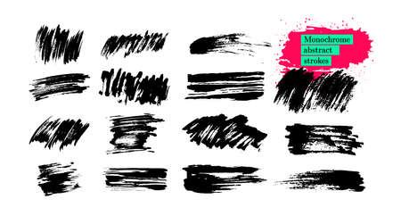 Set of monochrome black abstract strokes, brushes, grunge textures. Hand drawn paint brush strokes and stains. Ink brush lines, grungy. Dirty design elements, boxes, frames. Vector illustration. Stock Illustratie