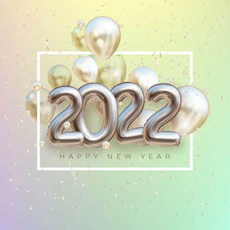 2022 silver decoration holiday. Happy New Year 2022 holiday. Shiny party time. Silver foil balloons numeral 2022 with realistic festive objects.glitter gold confetti. Realistic vector illustration. 版權商用圖片 - 165059099