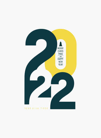 2022 Happy New Year. Creative concept of design template with typography 2022 for celebration and season decoration. Minimalistic trendy vector for calendar, card, branding, banner, cover.
