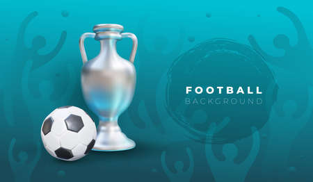 European football 2020. Realistic ball and victory cup graphic design on blue background with spots. Stylish background gradient with fans. Vector illustration. Isolated on blue background.