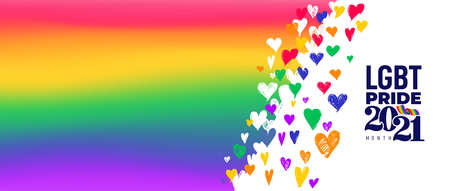 LGBT Pride Month icon 2021 flag concept. Freedom rainbow flag with hearts isolated. Gay parade annual summer event. LGBT Pride for lesbian gay bisexual and transgender. Vector illustration. 向量圖像