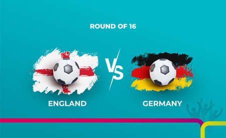Round of 16 of the euro football championship England national team and Germany national team. Vector illustration of football 2020 matches. 向量圖像