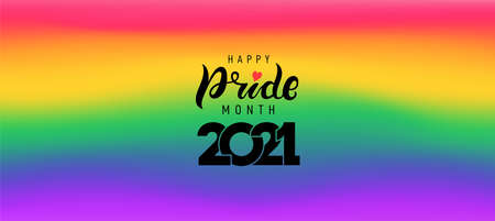 Pride 2021 gradient background with LGBTQ Pride month. Pride symbol with heart, LGBT, sexual minorities, gays and lesbians. Template designer sign, icon, event banner. Vector illustration flag colors