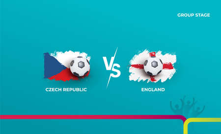 Group stage Czech Republic and England. Vector illustration of football 2020 matches. Football championship background.