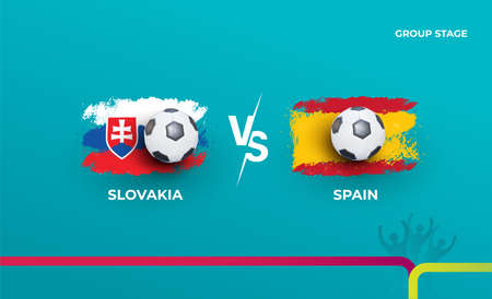 Group stage Slovakia and Spain. Vector illustration of football 2020 matches. Football championship background.