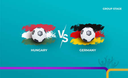 Group stage Germany and Hungary. Vector illustration of football 2020 matches. Football championship background.