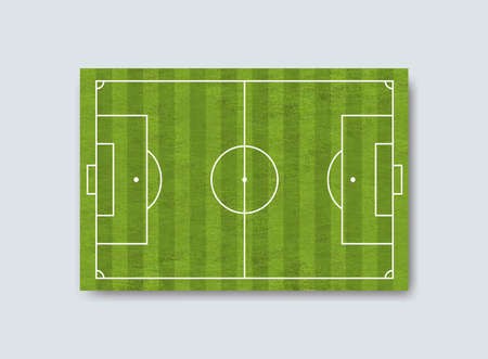 Green grass football field background. Soccer field with green grass in strips shape. Vector illustration. Isolated on white background. 向量圖像