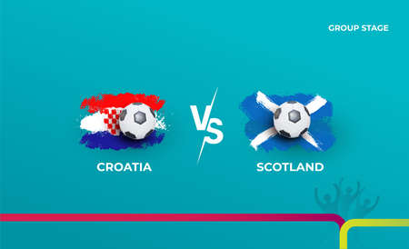 Group stage Croatia and Scotland. Vector illustration of football 2020 matches. Football championship background. 向量圖像