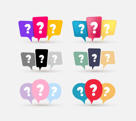 Set of message box with question mark icon. Chat, chat box, faq, help, message, speech bubble icon. Colored and black vector elements, isolated on white background. 向量圖像
