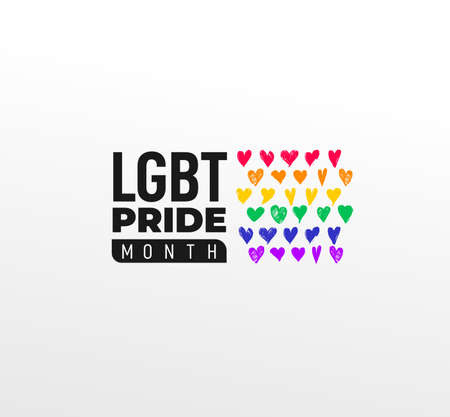 Pride LGBT Month in June. Vector lesbian Gay Bisexual Transgender. Celebrated annually. Flag rainbow love concept. Human rights and tolerance. Poster illustration card, banner and background. 向量圖像