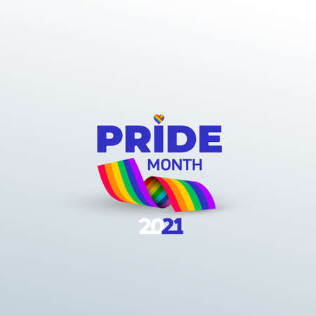 Pride month. Rainbow ribbon symbol. Vector pride month event celebration isolated on white background. 向量圖像