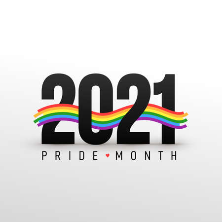 LGBT Pride Month 2021 concept. Freedom vector rainbow flag with heart. Gay parade annual summer event. Pride symbol with heart, LGBT, sexual minorities, gays and lesbians. Template designer sign, icon
