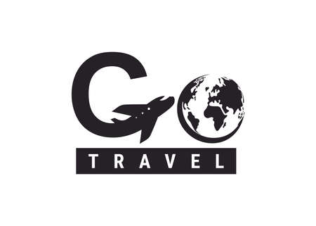 Go travel icon. Design lettering G Air Travel. Vector simple black and white concept. Trendy icon for branding, web, social network, calendar, card, banner, cover. Isolated on white background. 向量圖像