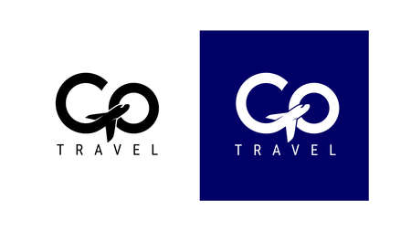 Go travel icon. Design lettering G Air Travel. Vector simple black and white concept. Trendy icon for branding, calendar, card, banner, cover. Isolated on white, blue background.