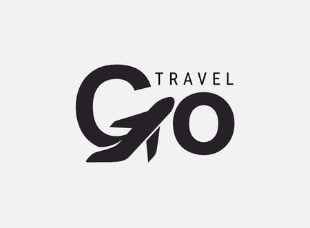 Go travel icon. Design lettering G Air Travel. Vector simple black and white concept. Trendy icon for branding, calendar, card, banner, cover. Isolated on white background.