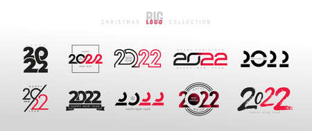 2022 Happy New Year trending logo design set. 2022 Christmas numbers design template. Decoration for new year holidays. Big Collection of 2022 happy New Year symbols. Black vector elements.