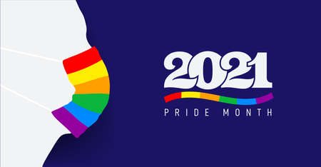 Silhouette with protective face mask colored in rainbow. Pride protection concept. LGBT flag color and icon 2021 pride month. Flat vector illustration. Isolated on blue background.