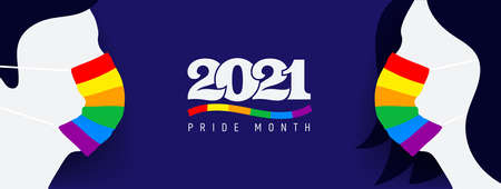 Silhouette of man and woman with protective face mask colored in rainbow. Pride protection concept. LGBT flag color and icon 2021 pride month. Flat banner, card, web, vector illustration. 向量圖像