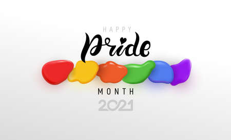 Pride month 2021 icon with rainbow spotted flag. Pride symbol with heart, LGBT, sexual minorities, gays and lesbians. Banner Love is love. Template designer sign, icon colorful brush strockes rainbow.
