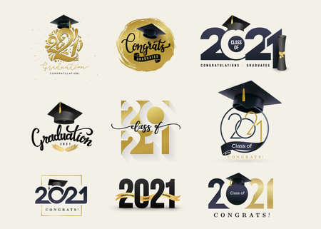 Set of Class of 2021 badges. Concept design for shirt, print, seal, overlay or stamp, greeting, invitation card, seal or stamp. Typography vector grad labels big collection.