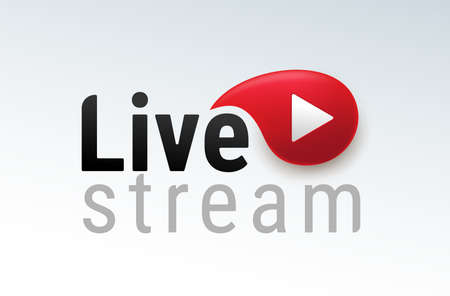 Live streaming. Icon modern calligraphy. Symbols and buttons of live streaming, broadcasting, online stream and live performances. Black and red vector illustration. Isolated on white background.