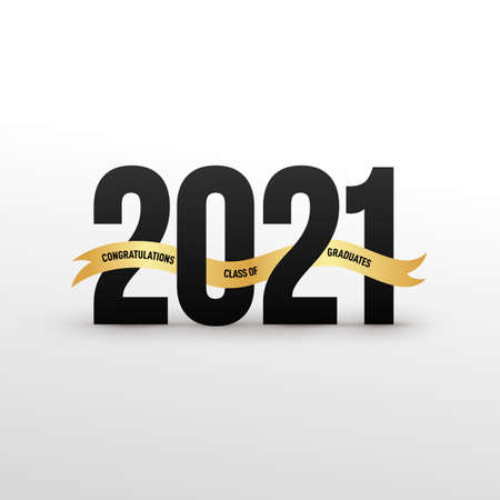 Class of 2021 Black lettering graduation icon with gold ribbon. Template for graduation design, party, high school or college graduate, yearbook. Vector illustration. Isolated on white background. 向量圖像