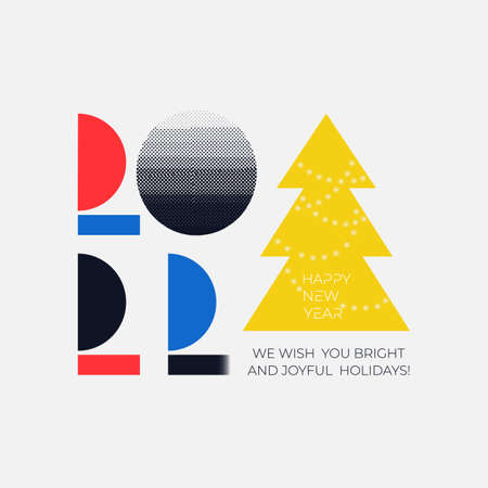 Invitation with 2022 icon sign. Colorful icon minimal Happy New Year graphic. Decoration flat for new year holidays. Vector illustration with label isolated on white background.