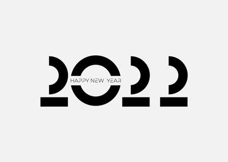 Invitation with 2022 icon sign. minimal Happy New Year Graphic vector illustration. Decoration for new year holidays. Vector illustration with black label isolated on white background.