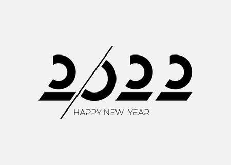 Invitation with 2022 icon sign. Icon minimal Happy New Year Graphic vector illustration. Decoration flat for new year holidays. Vector illustration with black label isolated on white background.