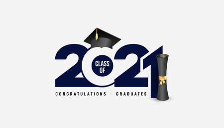Class of 2021 with graduation cap and black calligraphy. Congrats Graduation, blue color lettering. Template for design party high school or college, graduation invitations. Vector illustration. 向量圖像