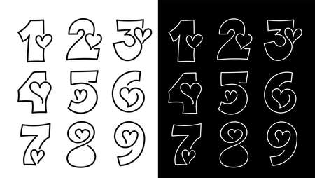Set of design Number One, two, three, four, five, six, seven, eight, nine with heart. First Place etc, 1, 2, 3, 4, 5, 6, 7, 8, 9, and heart. Vector illustration. Isolated on white background icons.
