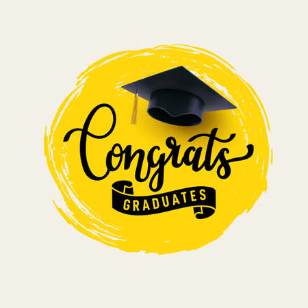 Congrats Graduates, class of 2021. Cap icon and lettering for graduation party. 向量圖像
