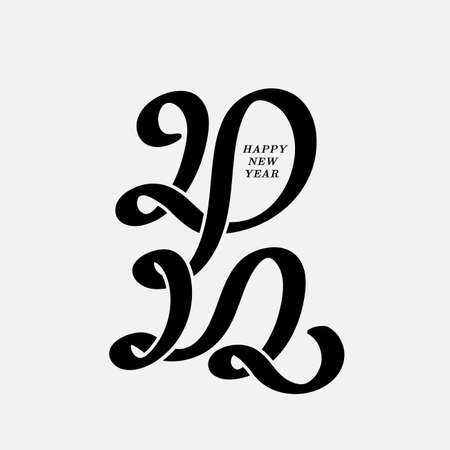 Calligraphy lettering 2022 by brush. Christmas card in typography design. Merry Christmas and Happy New Year. Decoration for new year holidays. 2022 Christmas numbers design template. 向量圖像