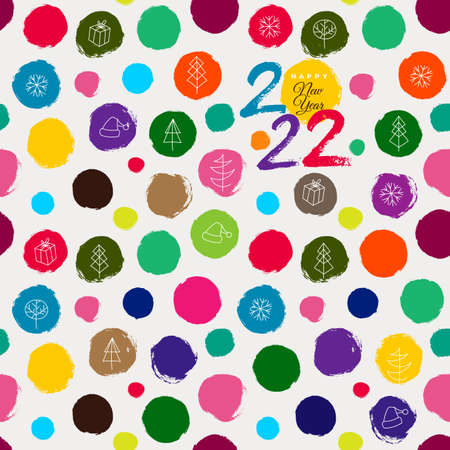 Seamless pattern. 2022 colorful background with round brush strokes. Simple hand drawn texture with red and dark circles. Brush strokes Vector illustration. Isolated on white background.
