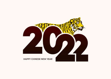 2022 Happy new year. Year of tiger drawing tiger black and yellow lines lying on numbers 2022 for poster, web, social networks story and posts. Vector brochure, banner, invitation card. 向量圖像