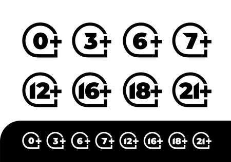Age rating set icon 0, 3, 6, 7, 12, 16, 18, 21. Design vector illustration age limit for web and video games. Isolated on black and white background. 向量圖像