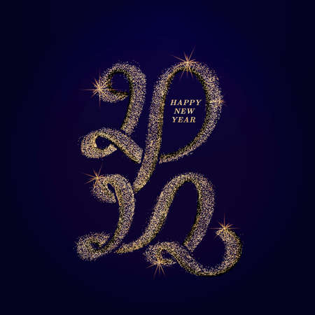 Golden text Happy New Year 2022 with bright sparkles. Handwritten calligraphy numbers lettering in paint and color gold. Festive design 22 template, poster, banner, greeting card. Vector gold glitter.