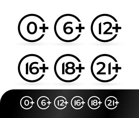 Age rating set icon 0, 6, 12, 16, 18, 21. Design vector illustration age limit for web and video games. Isolated on black and white background.