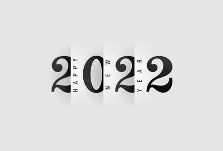 Happy New Year 2022 design pattern. Paper cut typography, alphabet letters and numbers 2022. Decoration for new year holidays. Vector illustration with black label isolated on white background.