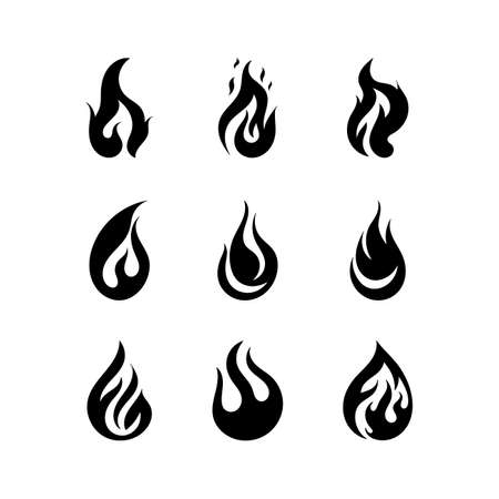 Black fire silhouettes. Simple outline fire flames, ignite and fiery explosion signs. Campfire isolated on white background icons. Fire flat flame icon.Vector illustration.