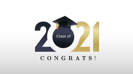 Class of 2021 graduation with golden numbers. Class of 20 and 21 congratulations graduate design with decoration gold beams for cards, invitations or banner. Vector. Isolated on white background. 向量圖像