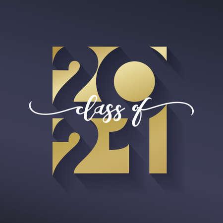 Class of 2021. Congratulations graduation banner numbers golden design elements.