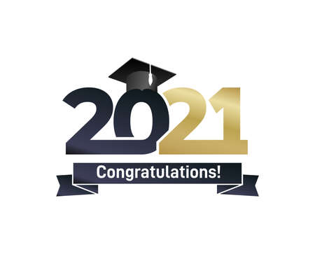 Class and gold graduates of 2021 with a graduation black cap. Vector for design and theme design. Grad concept design for high school or college party, photo album, web. Isolated on white background.