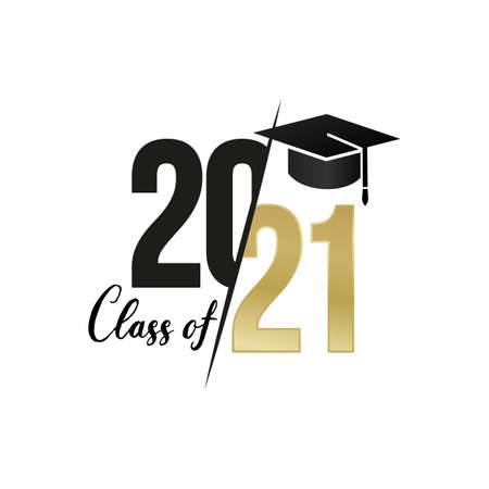 Class and gold graduates of 2021 with a graduation black cap. Vector for design and theme design. Isolated on white background.