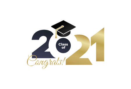Class 2021. Vector simple black and gold concept. Trendy background for branding, calendar, card, banner, cover.