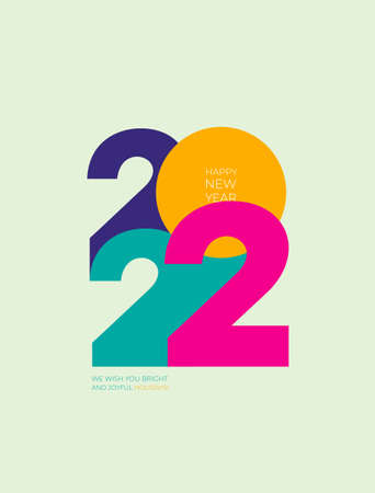 2022 Happy New Year. Creative concept 2022. Design template with typography for celebration and season decoration. Vector illustration trendy background for branding, calendar, banner, cover.