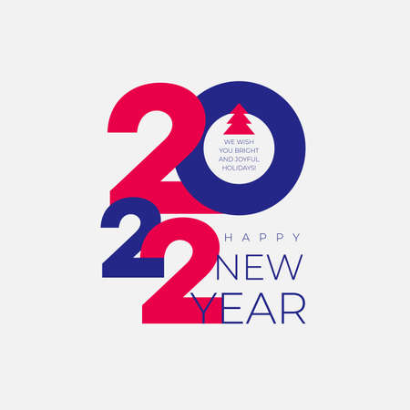 2022 Happy New Year. Creative concept 2022. Colored design template with typography for celebration and season decoration. Vector illustration trendy background for branding, calendar, banner.